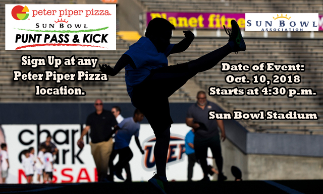 The Sun Bowl Association Teams Up with Peter Piper Pizza to host the 2018 Punt, Pass & Kick in Sun Bowl Stadium on October 10