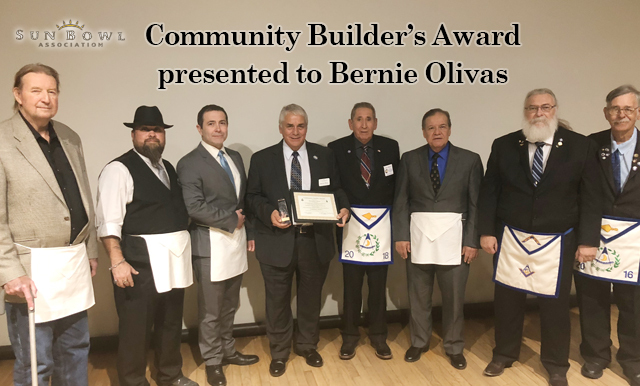 SUNLAND MASONIC LODGE PRESENTS COMMUNITY BUILDERS AWARD TO SUN BOWL EXECUTIVE DIRECTOR