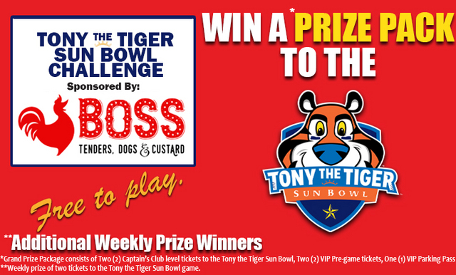 The Newly Named Tony the Tiger Sun Bowl Challenge Presented by Boss Chicken Starts Today