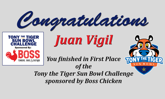 TONY THE TIGER SUN BOWL CHALLENGE FINAL WINNERS ANNOUNCED