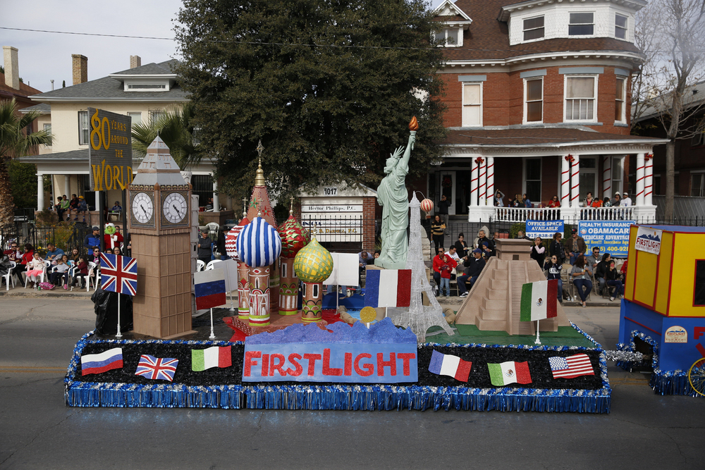 FirstLight Federal Credit Union float stolls down the parade route during the 2016 parade.